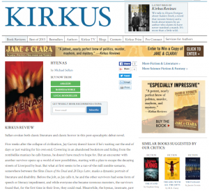 Click here for a Very Positive Kirkus Review for Hyenas