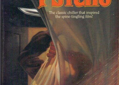 Psycho, (Jul 1989, Robert Bloch, publ. Tor, 0-812-50031-8, $3.95, 223pp, pb) Cover Joe DeVito